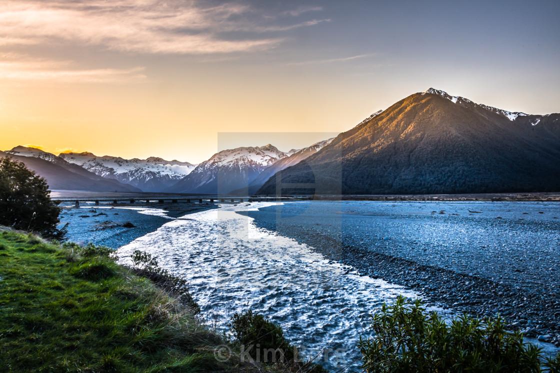 """Sunset Mountains"" stock image"