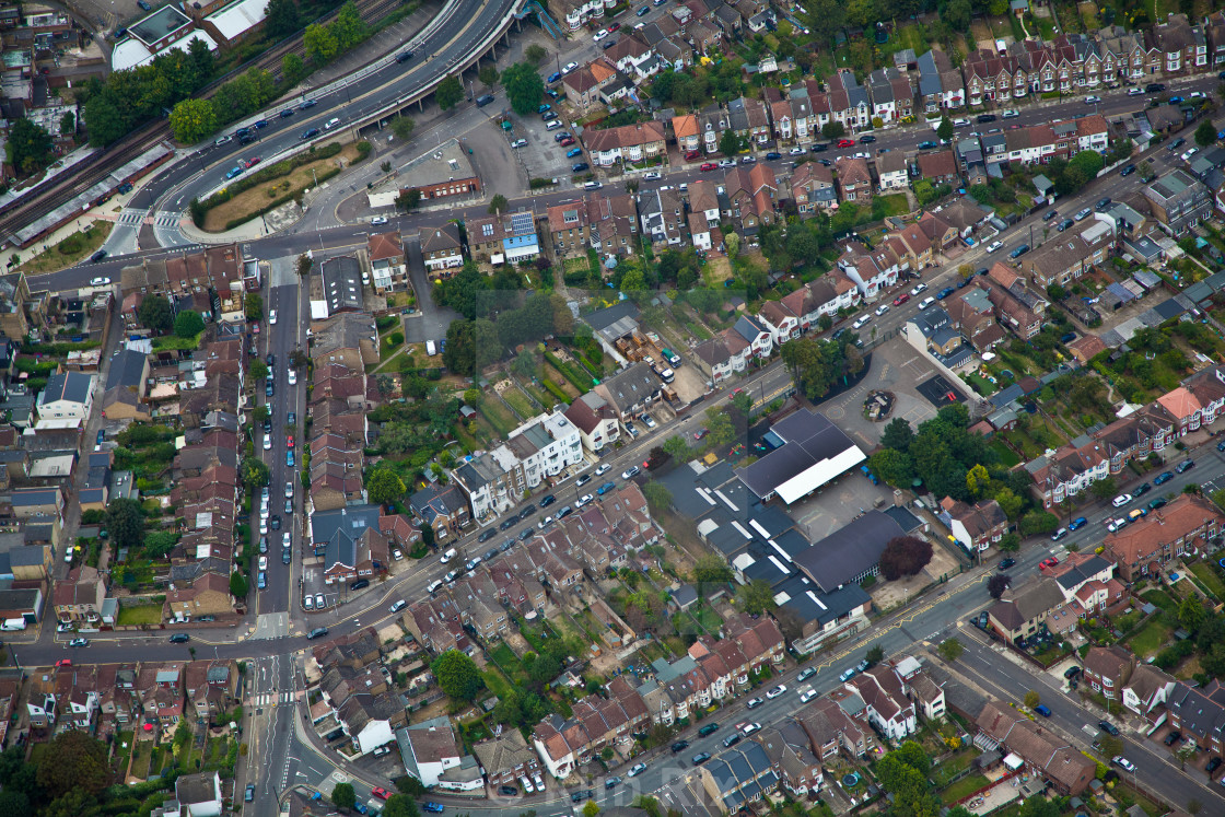 """""""Ariel view of South Woodford, 2012"""" stock image"""