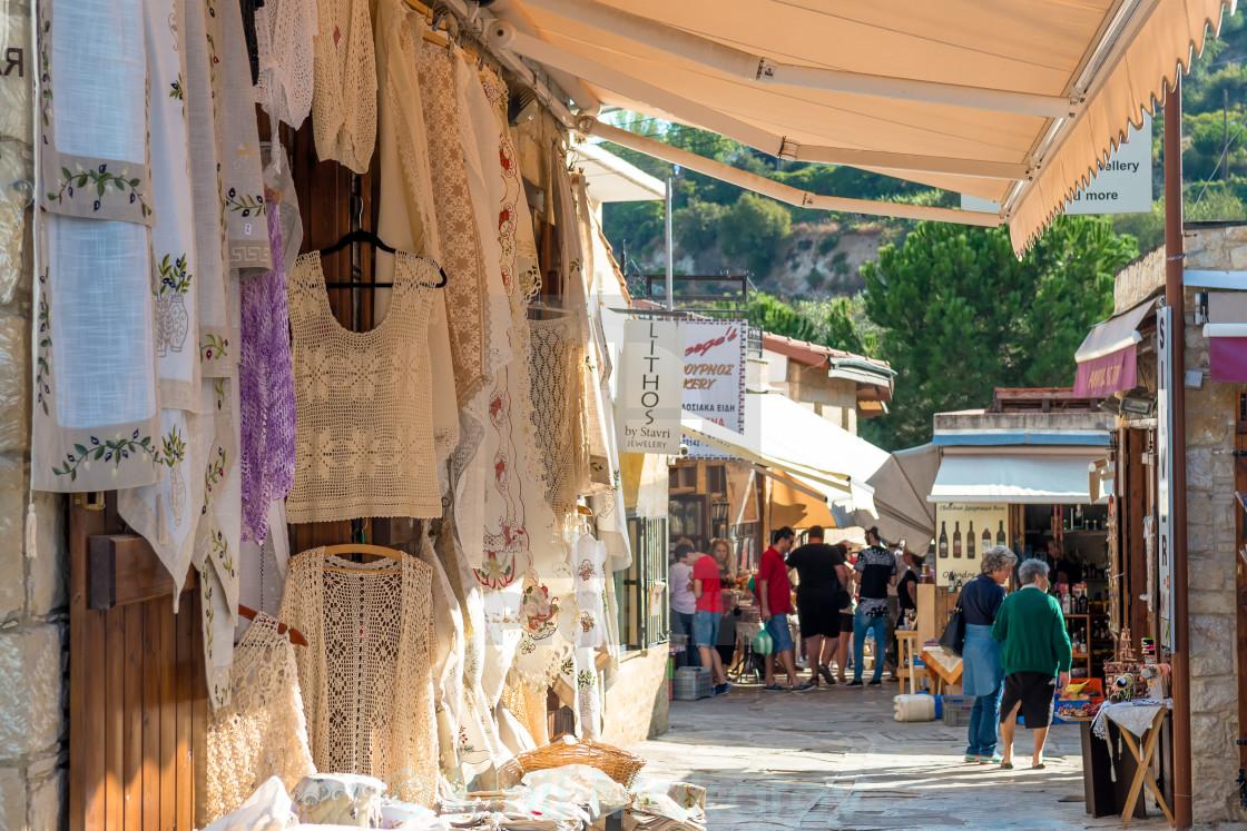 """Traditional souvenir shops. Omodos Village, Cyprus"" stock image"