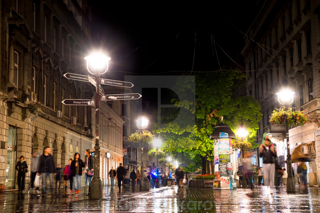 """Rainy night at Knez Mihailova Street on September 25, 2015 in Belgrade, Serbia."" stock image"