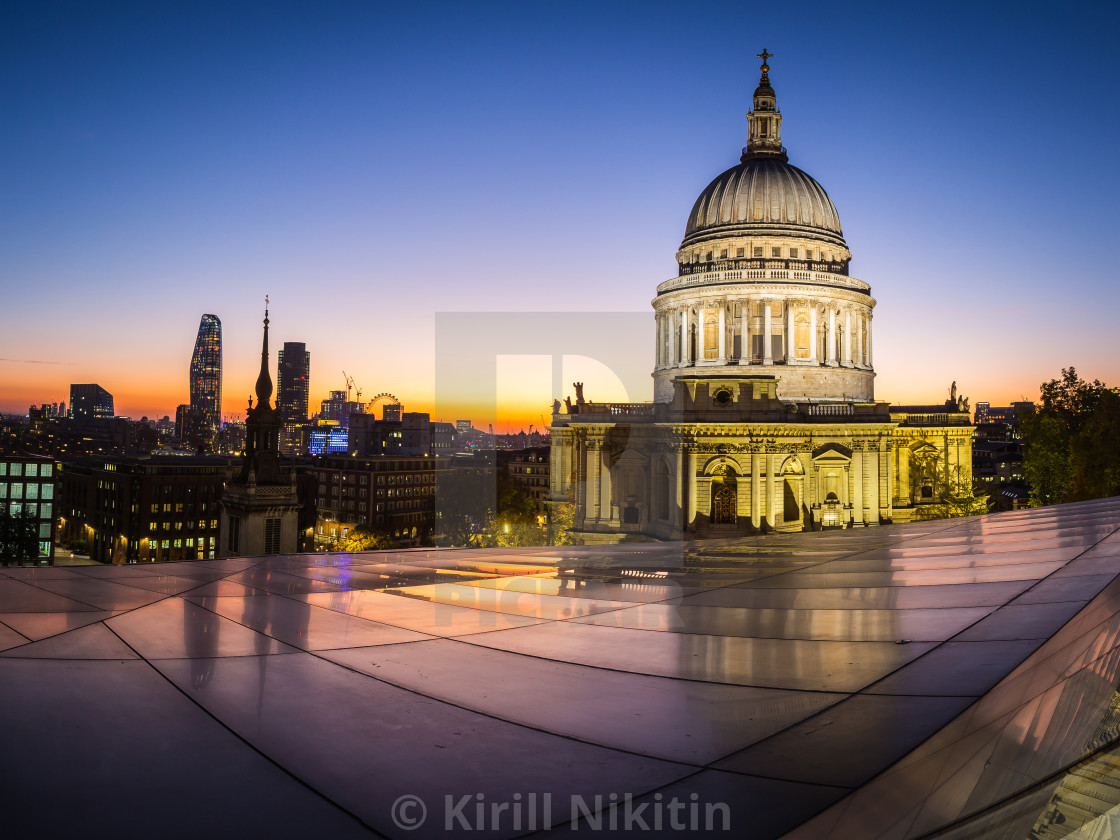"""sunset view of the dome of St.Paul's Cathedral and London skyline"" stock image"