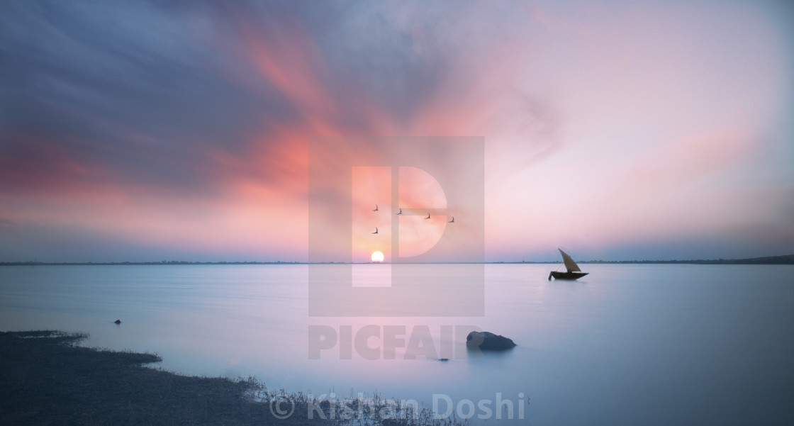 """Calm sunset"" stock image"