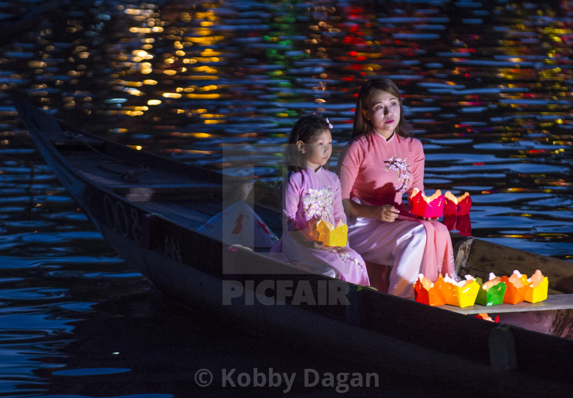 """The Hoi An Full Moon Lantern Festival"" stock image"