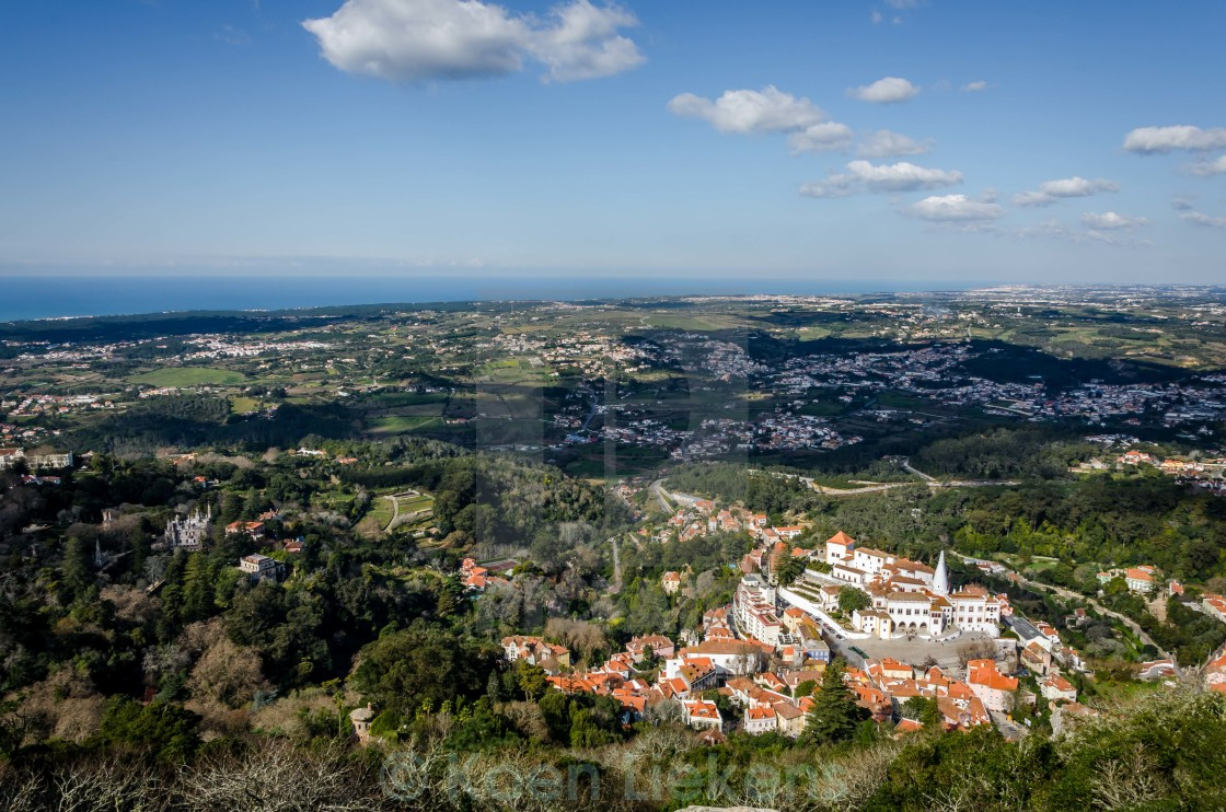 """""""Aerial view of the area around Sintra"""" stock image"""