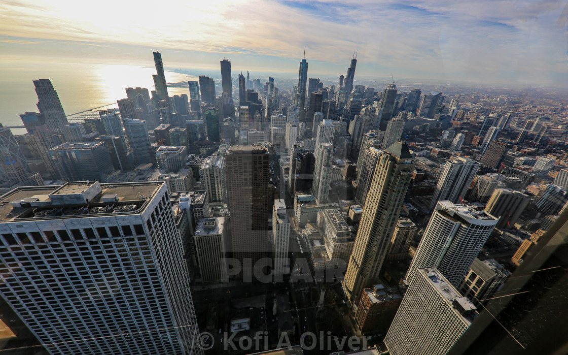 """Ariel View Of Chicago Skyline"" stock image"