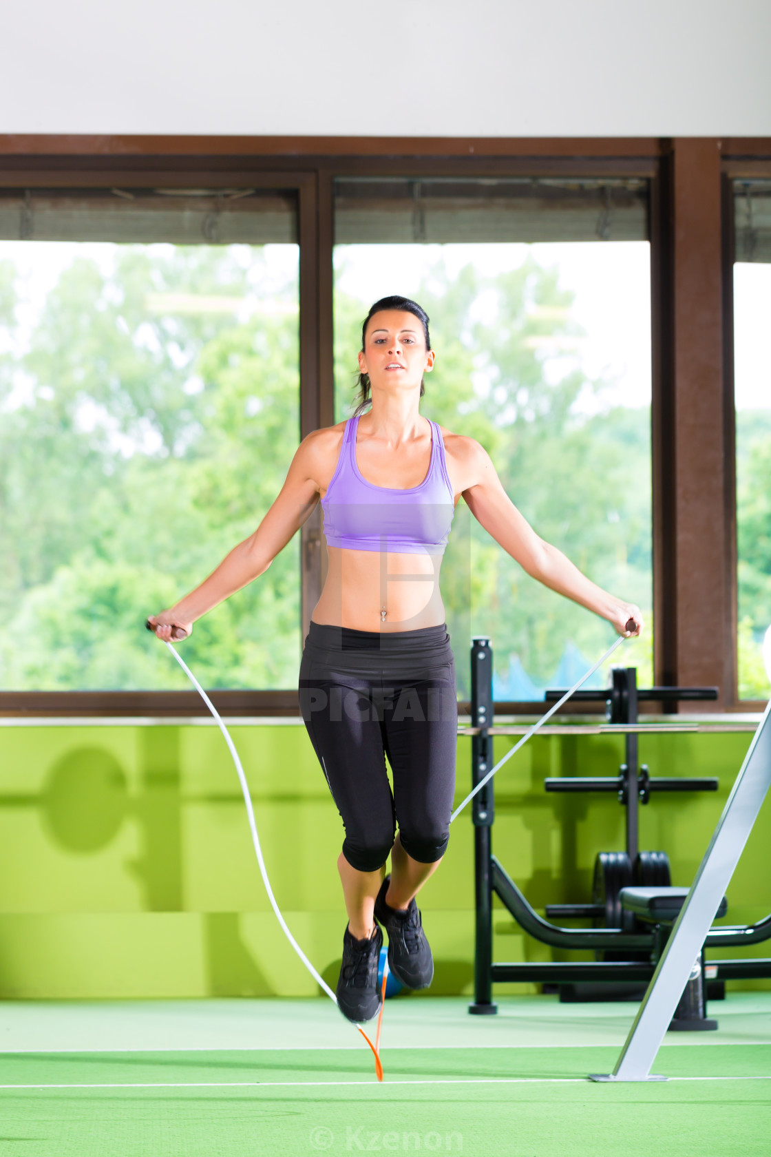 """""""Woman jumping with rope, jumping rope"""" stock image"""