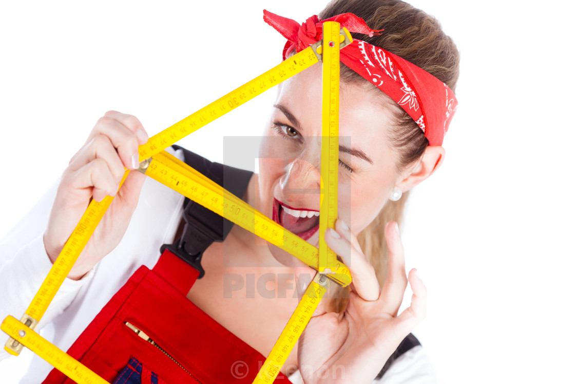 """""""Woman having fun with home improvement"""" stock image"""
