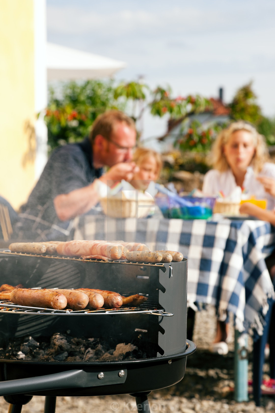 Family having a barbecue party - License, download or print