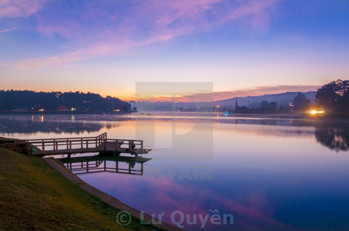"""""""Sunrise at Xuan Huong lake , Dalat"""" stock image"""