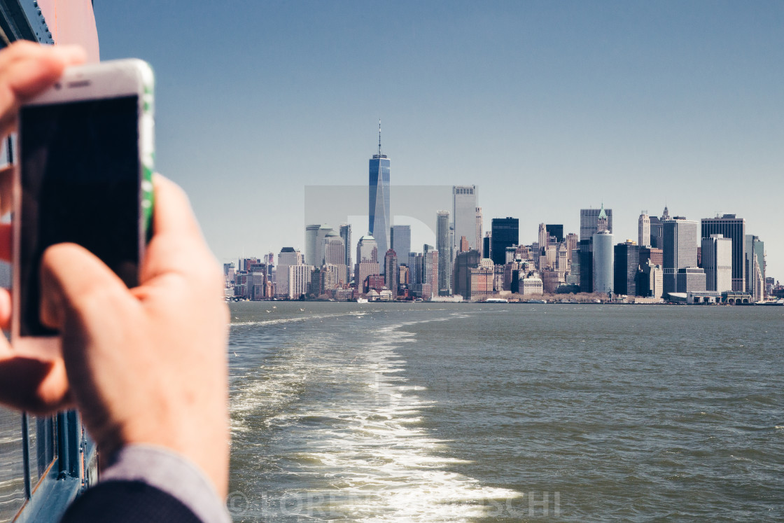 """""""Shooting a photo with smart phone at ferry"""" stock image"""