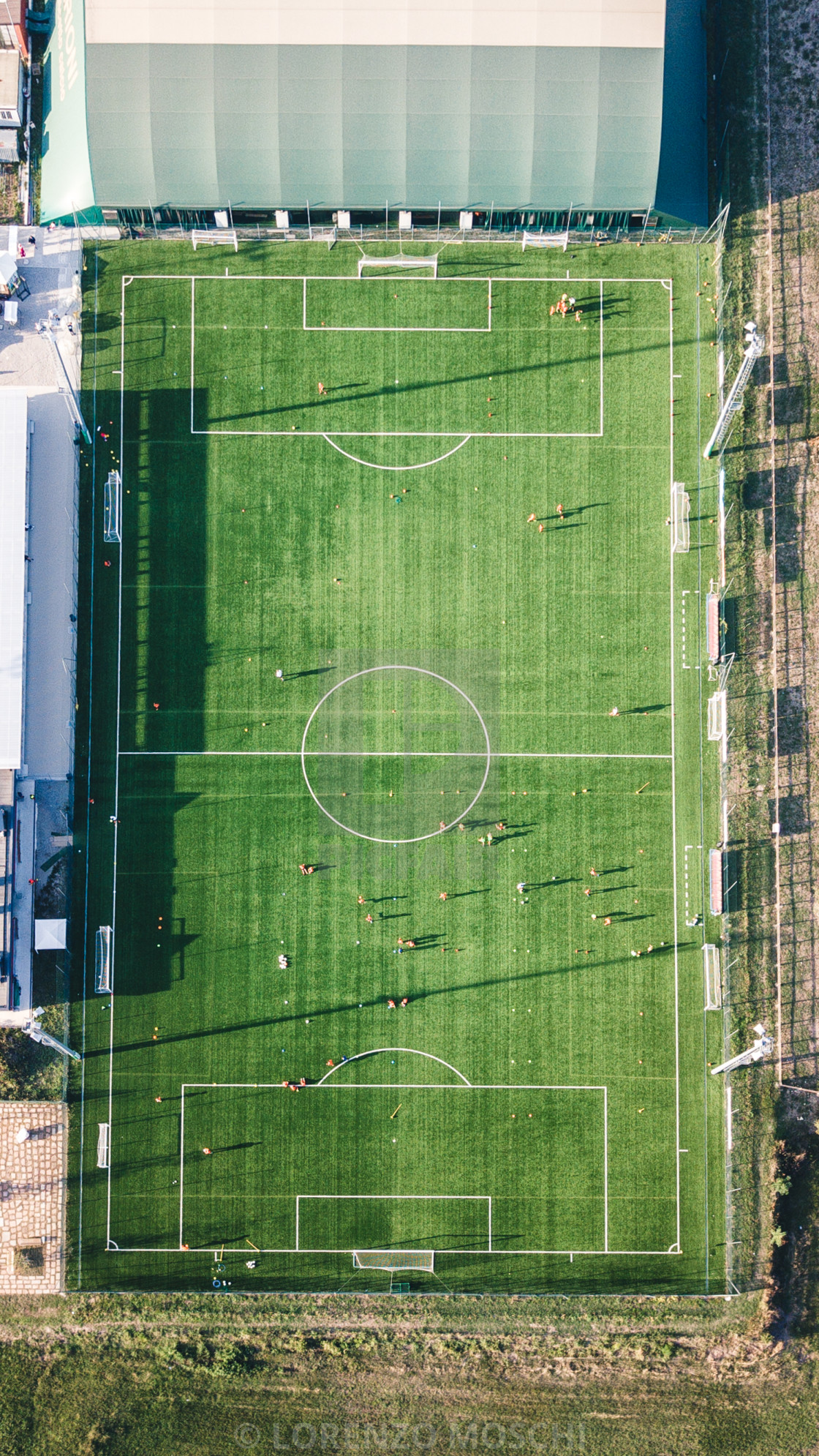 """Aerial view of real soccer pitch"" stock image"