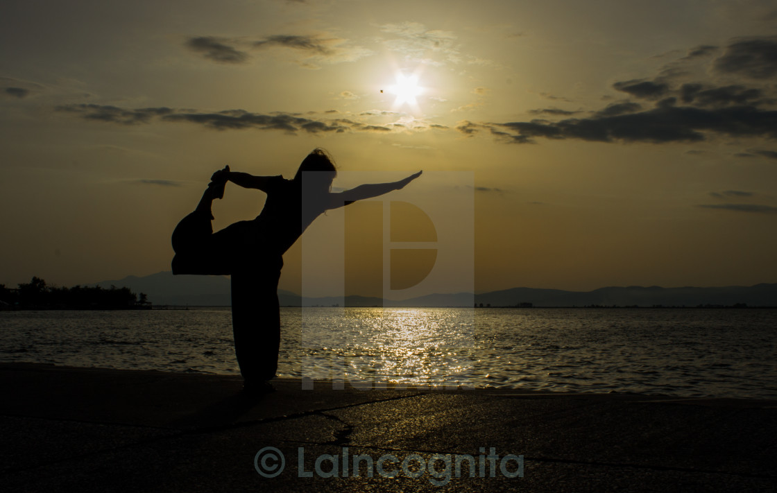 """Yoga at the beach 2"" stock image"