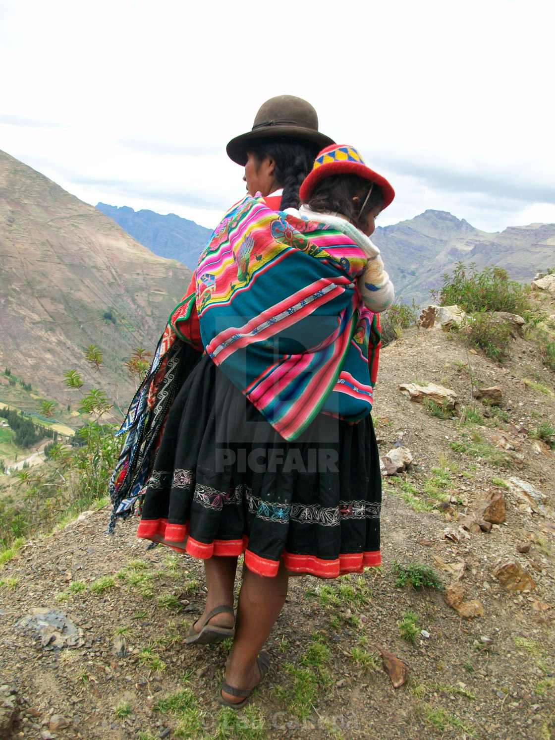 """Altiplano Mother carrying child"" stock image"