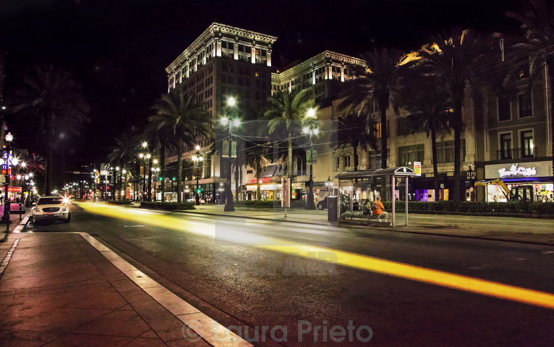 """Canal Street by night- New Orleans"" stock image"