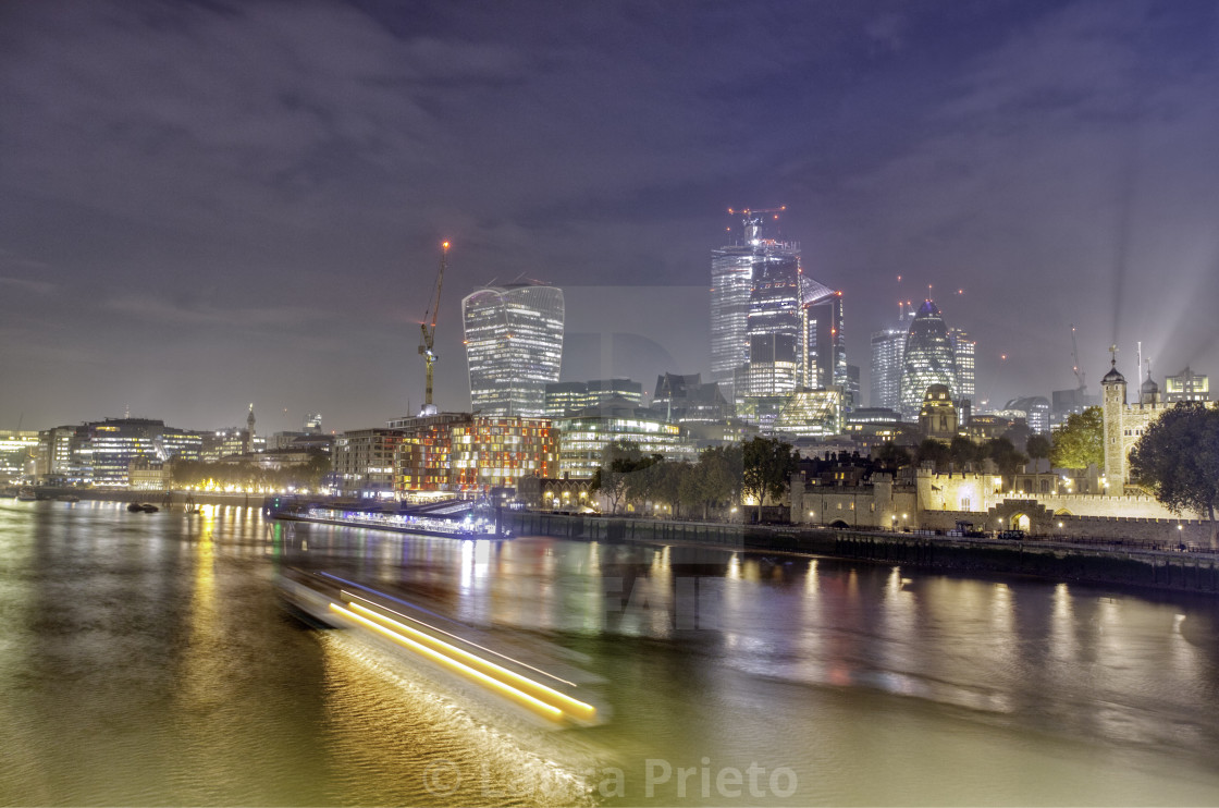 """Ship Light Trail on Thames River"" stock image"