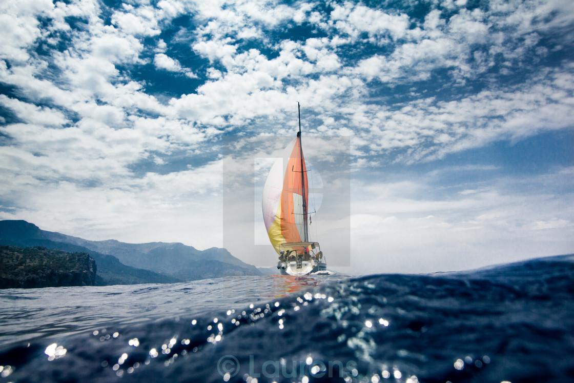 """""""Sailing alongside the coast of Mallorca."""" stock image"""