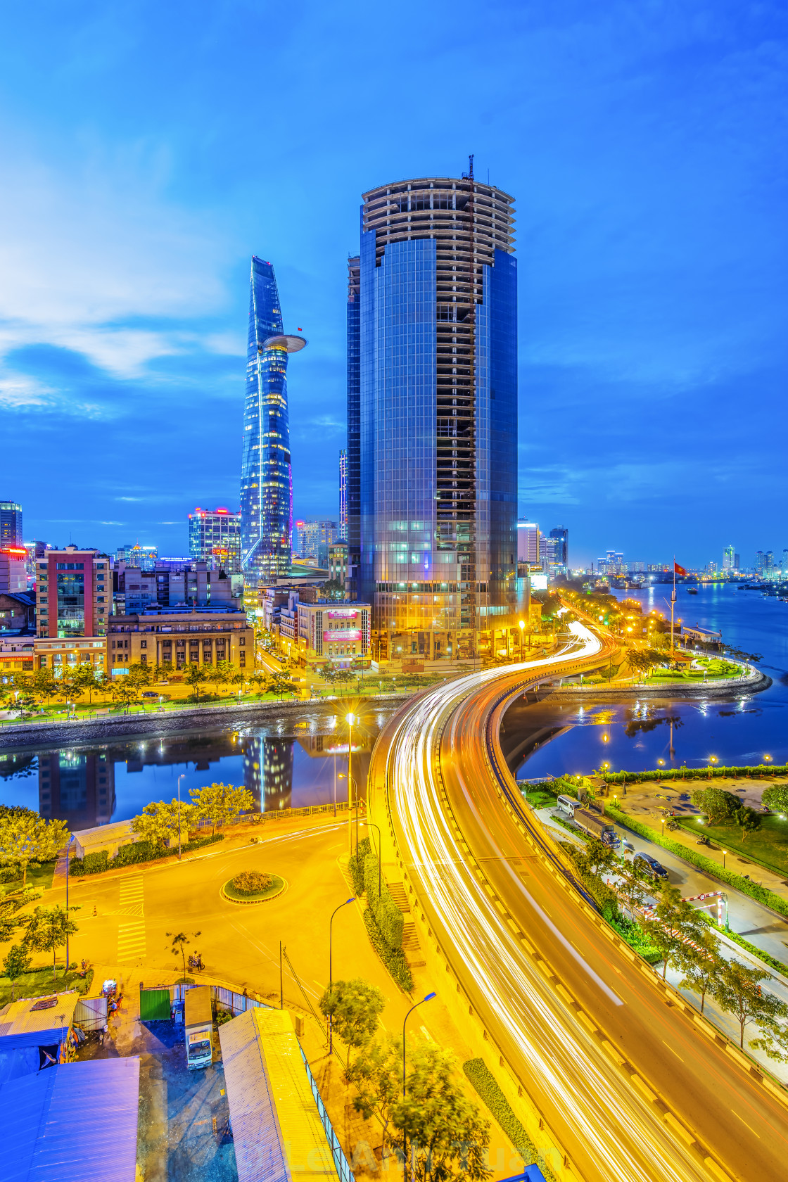 """Cityscape with long exposure in blue hour"" stock image"