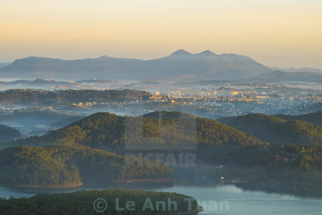 """""""Overview Dalat city on the top of mountain in early morning"""" stock image"""
