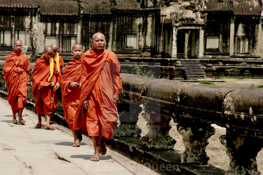 """Monks On The Move"" stock image"