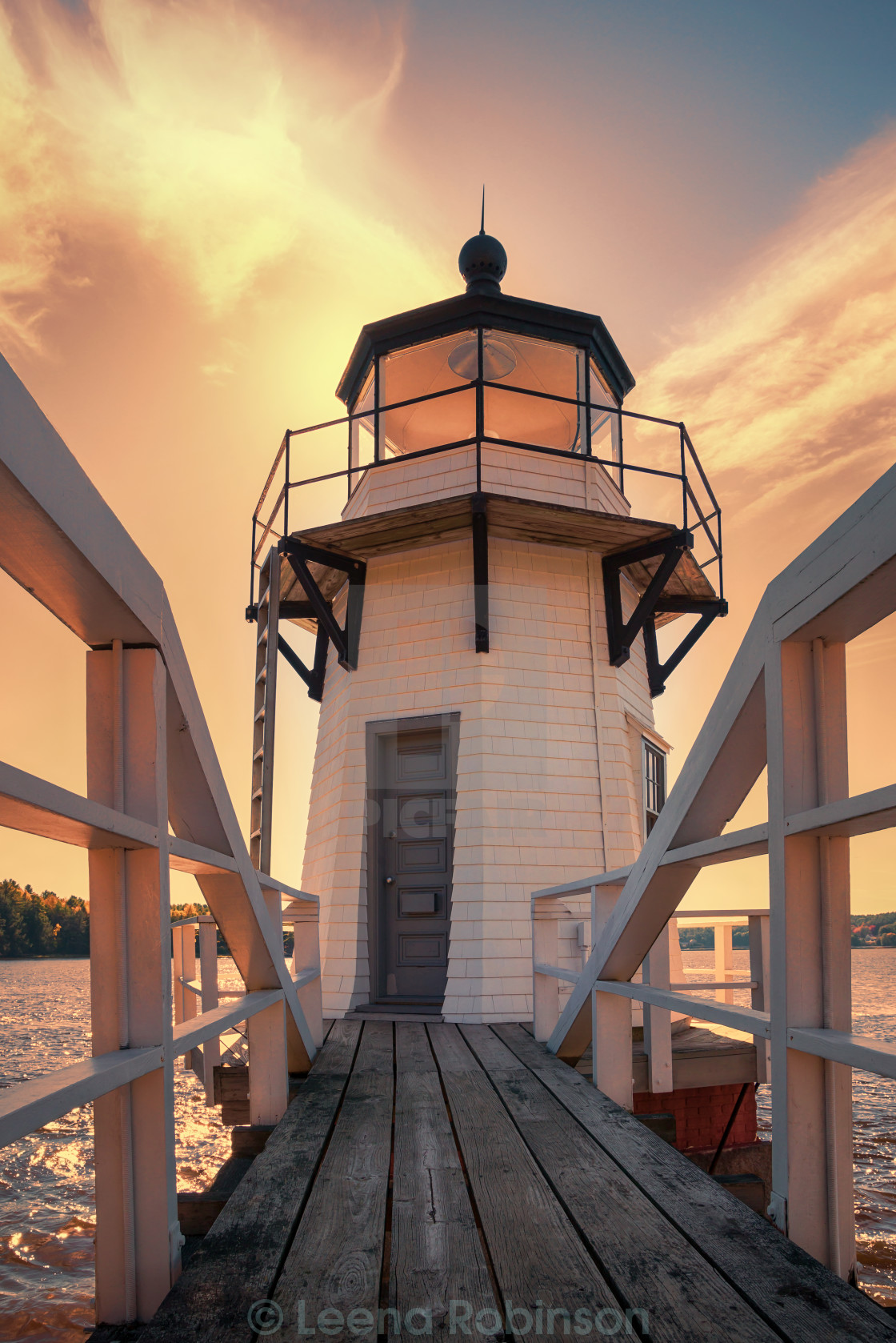 """""""Doubling Point Lighthouse in New England"""" stock image"""