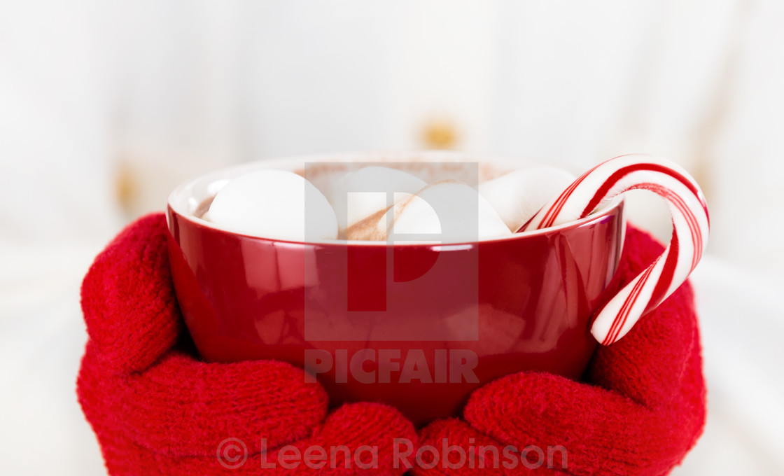"""""""Hot Chocolate with marshmallows and a candy cane in a red cup"""" stock image"""