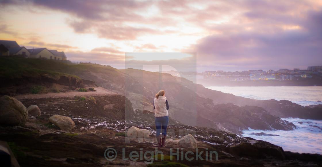 """Golden light on the Headland"" stock image"