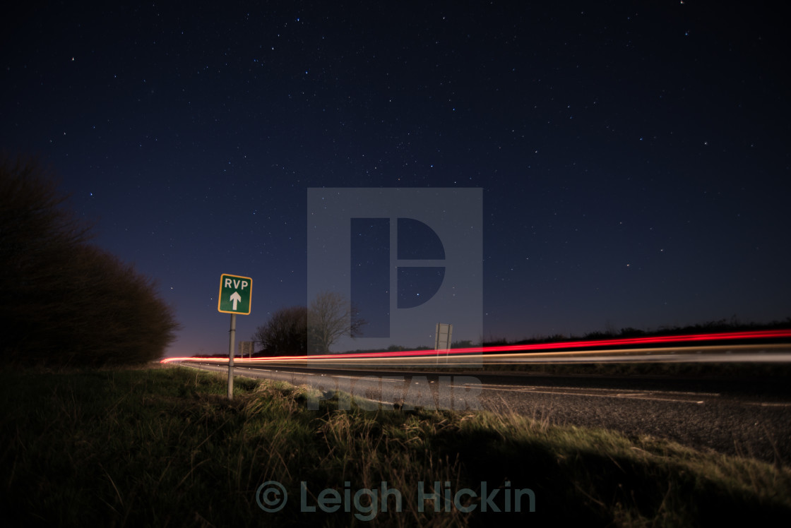 """""""Driving Under a Night Sky"""" stock image"""