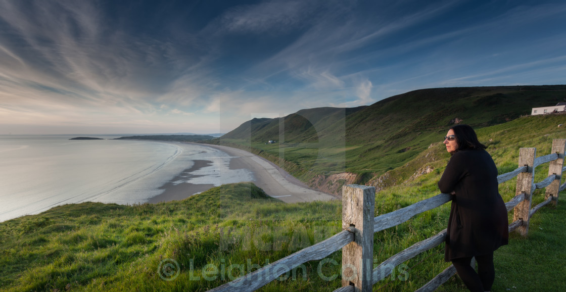 """Viewing Rhossili Bay"" stock image"