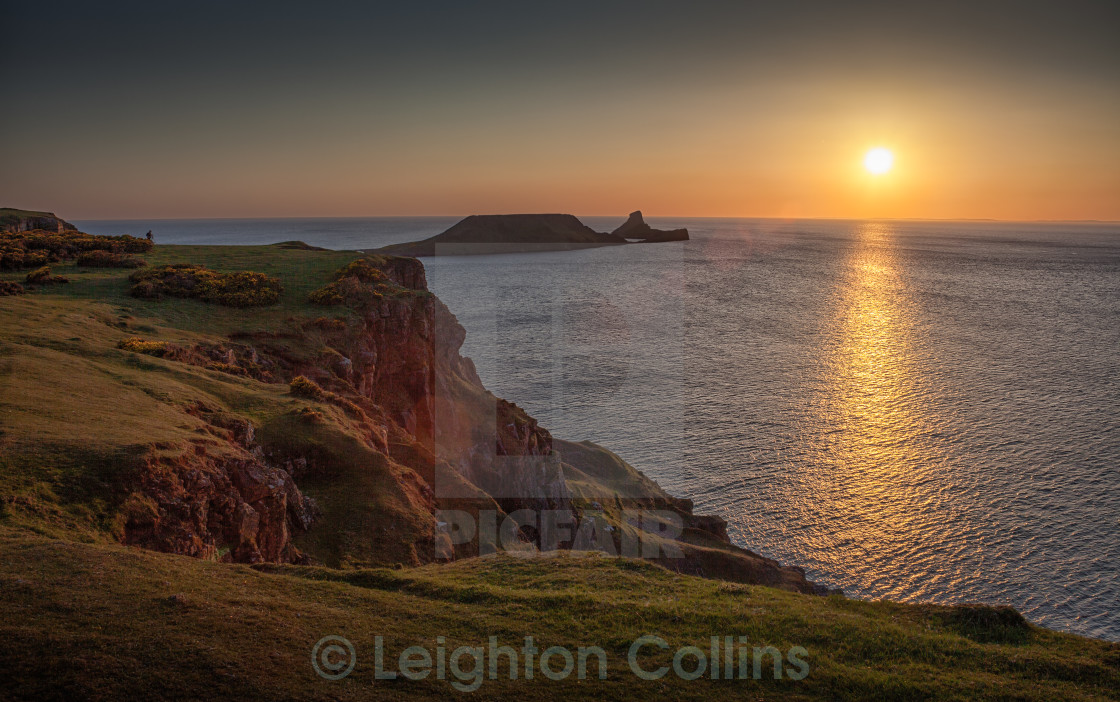"""""""Sunset at Worms Head Rhossili bay"""" stock image"""
