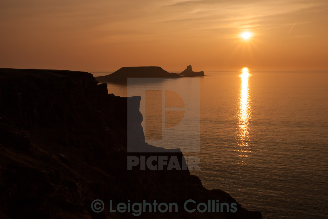 """Worms Head sunset Gower"" stock image"