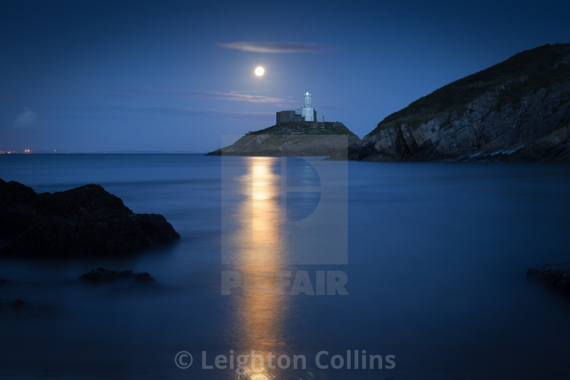 """Mumbles Lighthouse at dusk"" stock image"