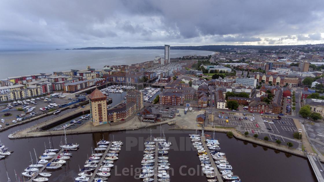 """""""Swansea Bay and River Tawe Marina South Wales"""" stock image"""