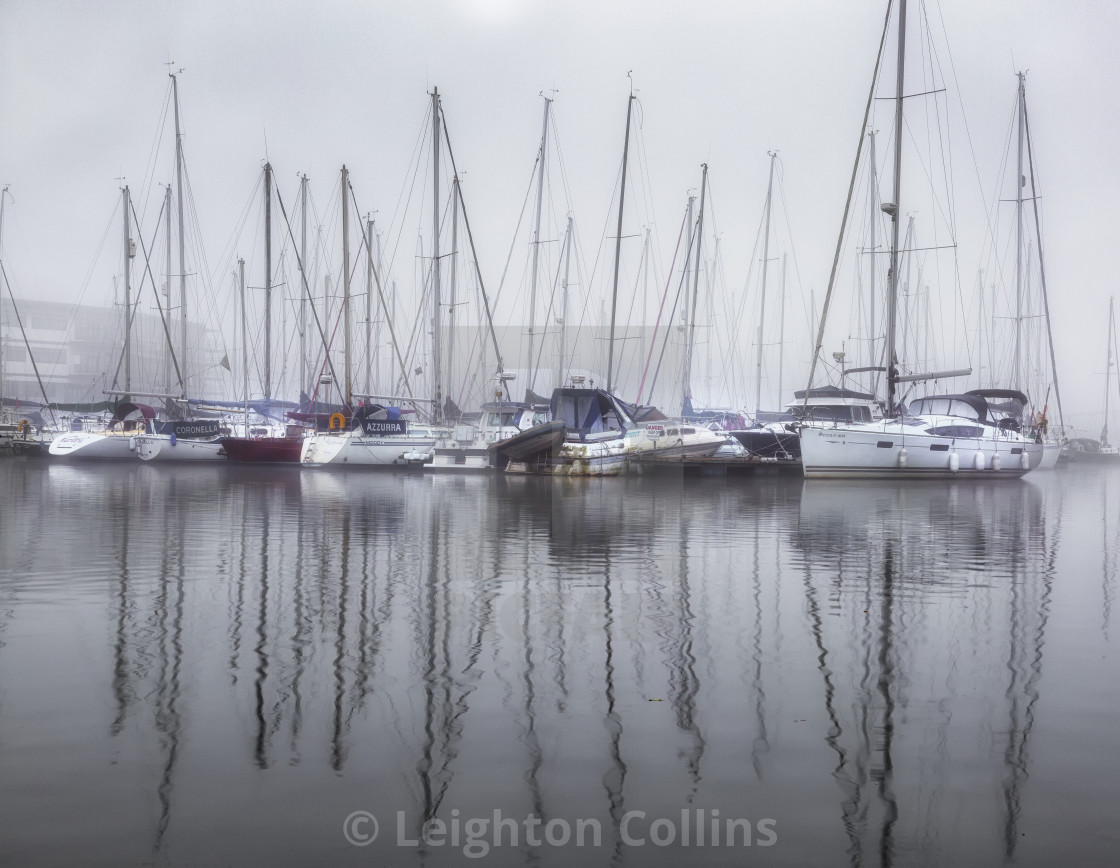 """Yachts in the fog"" stock image"