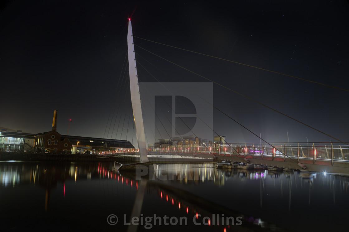 """Late evening at Swansea Sail Bridge"" stock image"
