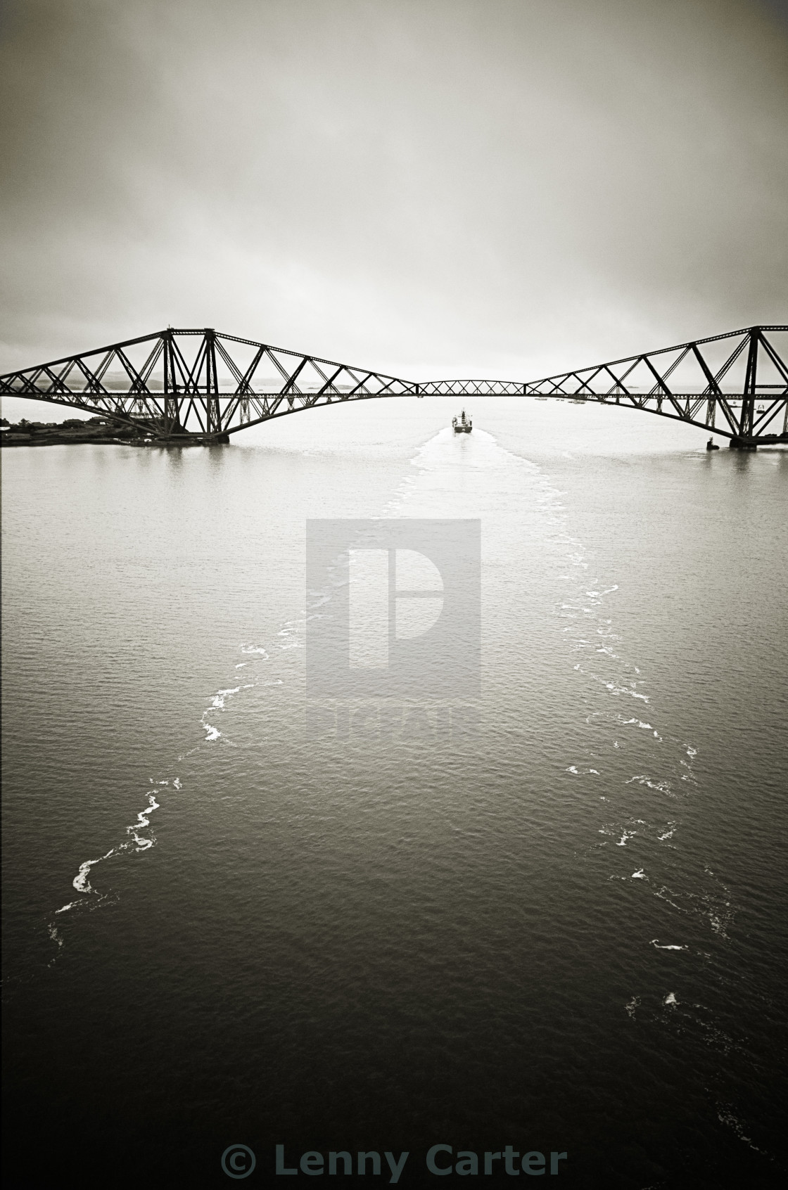"""Forth Bridge with Container Ship Wake"" stock image"