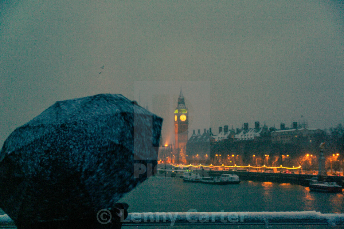 """Big Ben on a snowy evening"" stock image"