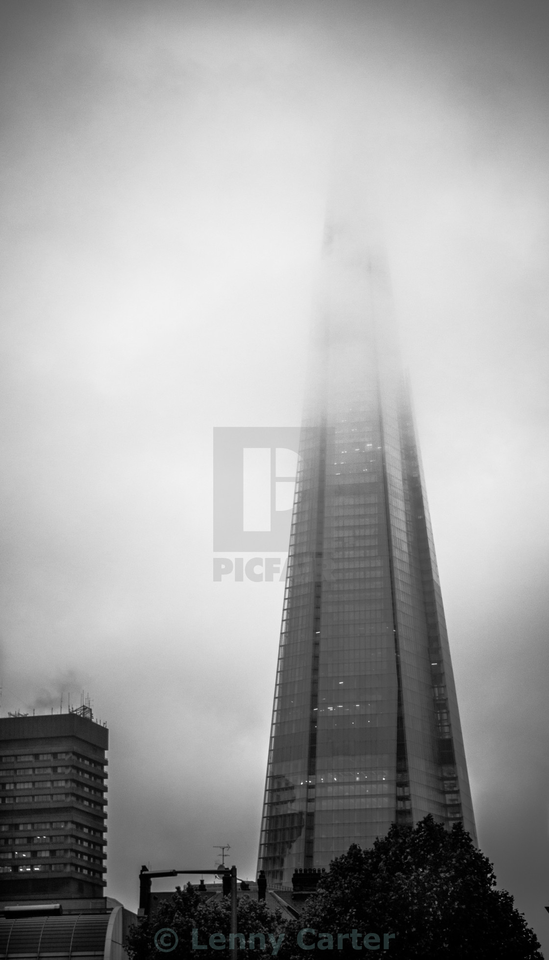 """The Shard in Mist"" stock image"
