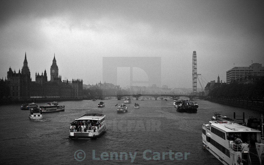 """Jubilee 2012 - Thames Boats on a wet day"" stock image"