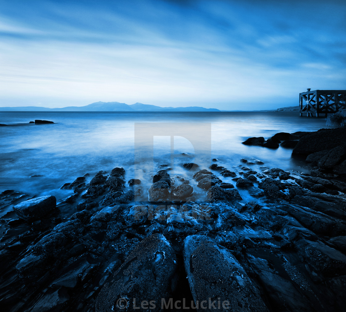"""Portencross Pier Loking To Arran"" stock image"