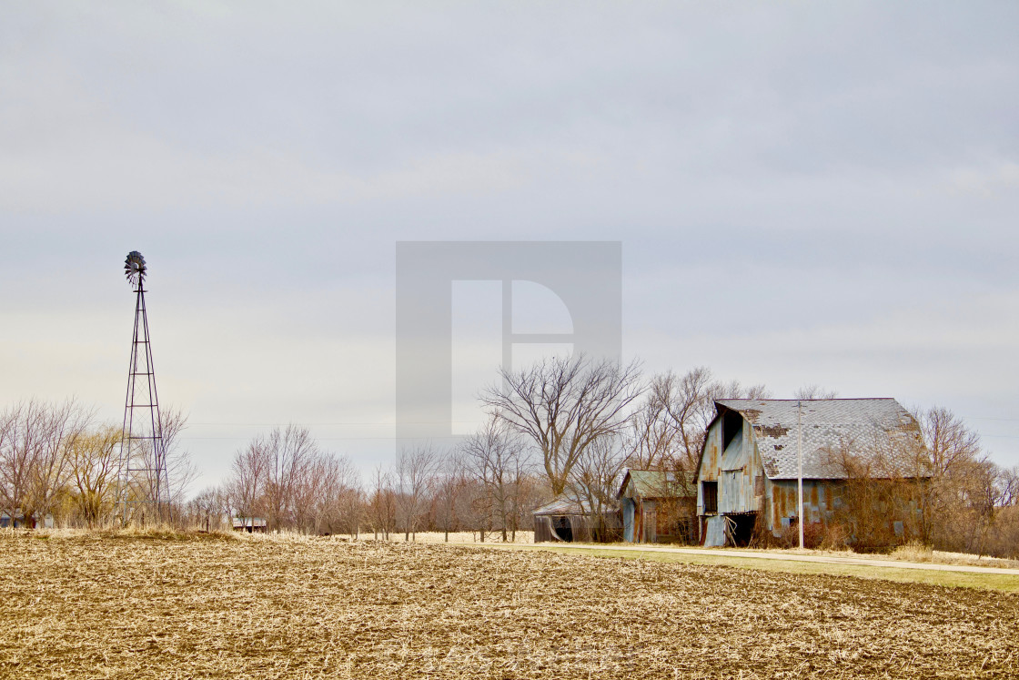"""Barn and Windmill by the Corn Field"" stock image"