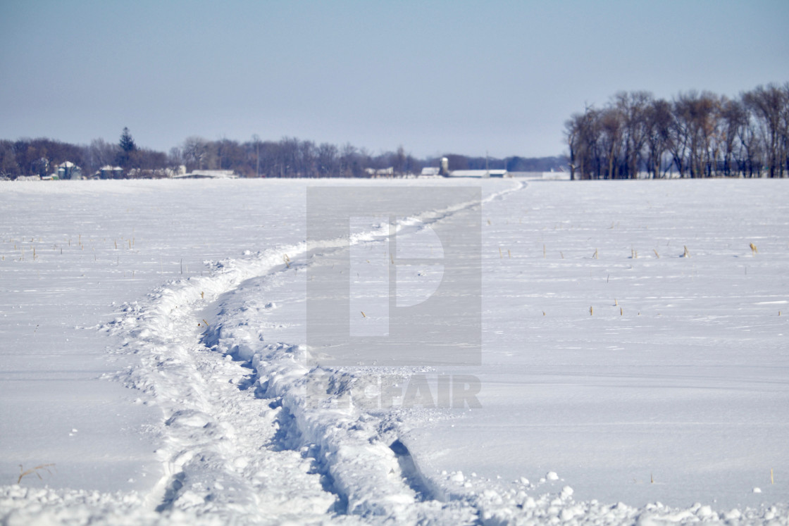 """Prairie Snowmobile Tracks"" stock image"