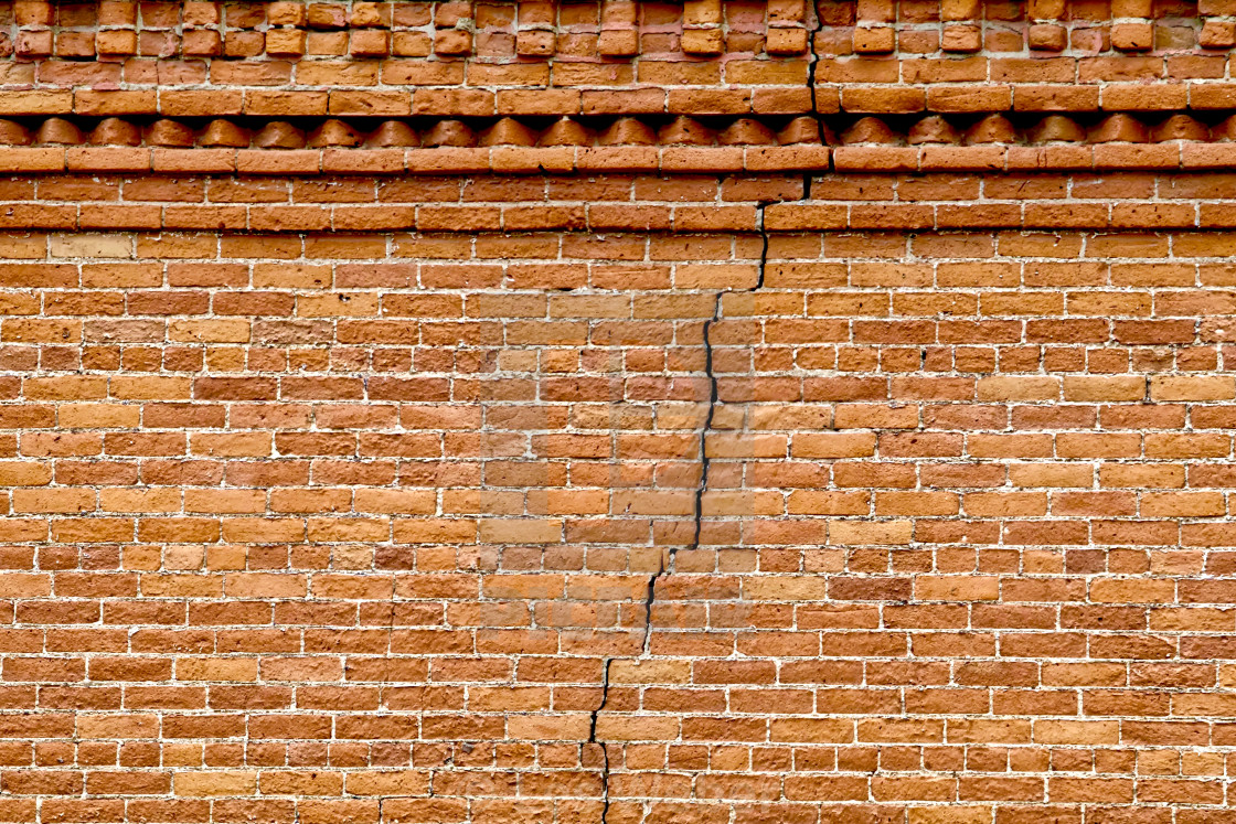 """Victorian Brick Cracked Wall"" stock image"
