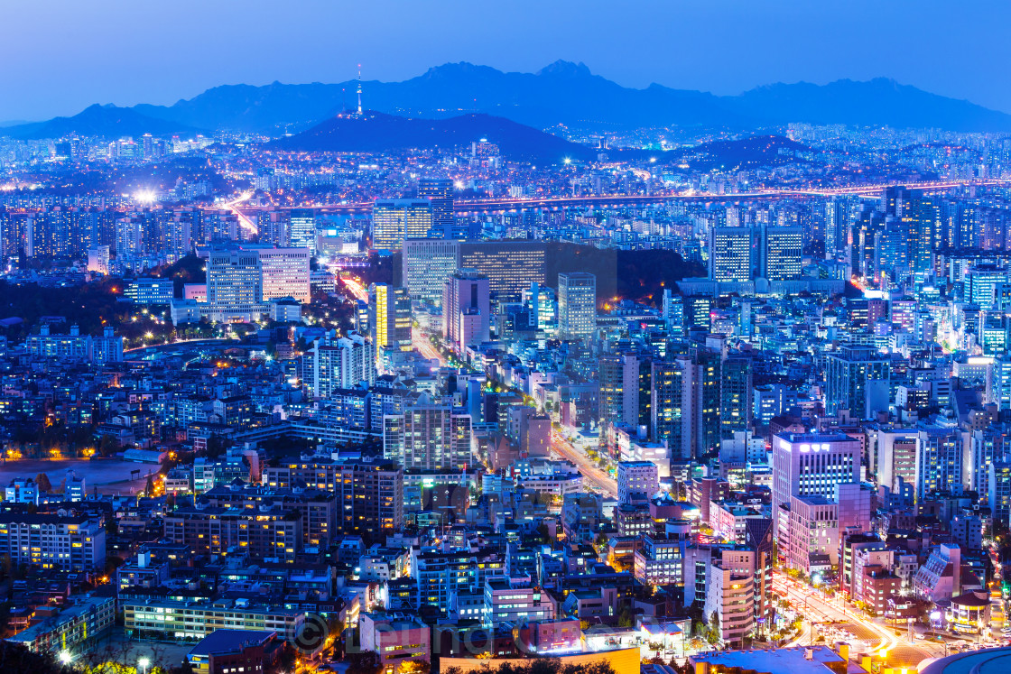"""Seoul cityscape at night"" stock image"