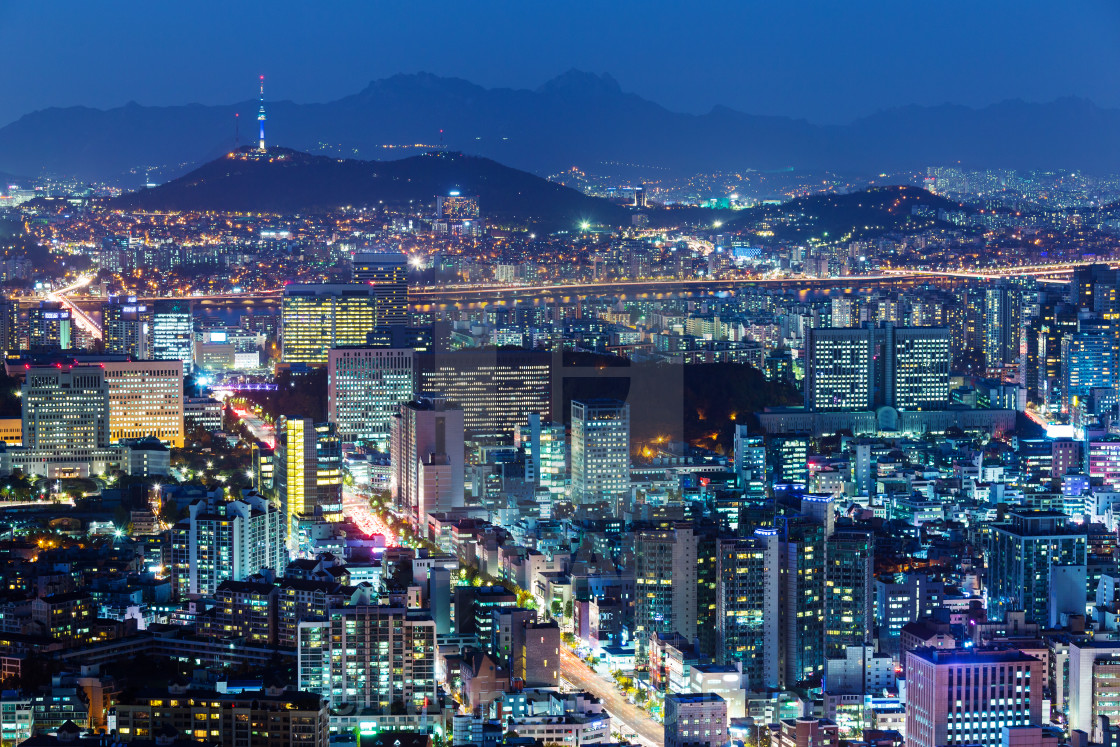 """Downtown skyline of Seoul"" stock image"