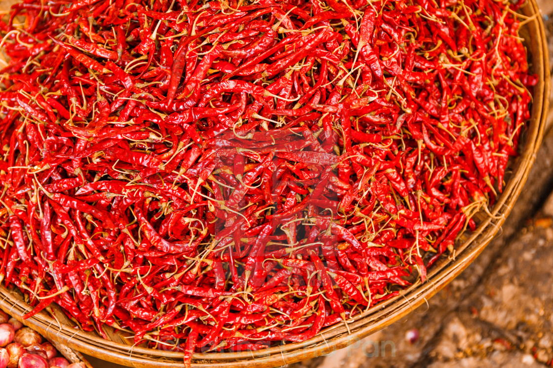 """""""Preservation procedure of red Chili peppers on basket"""" stock image"""