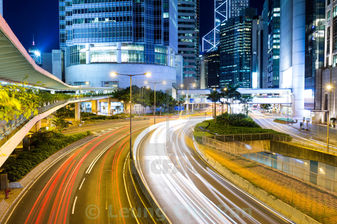 """Hong Kong city at night"" stock image"