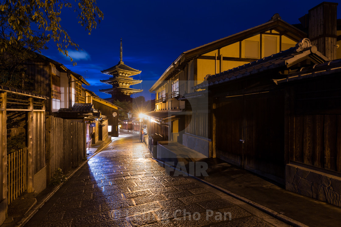 """Oriental streets of Higashiyama district in Kyoto"" stock image"