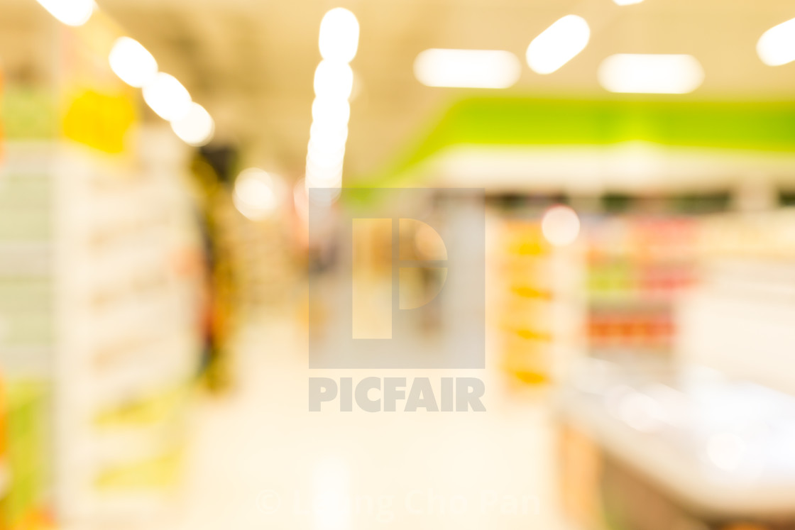 Supermarket blur background with bokeh - License, download or print