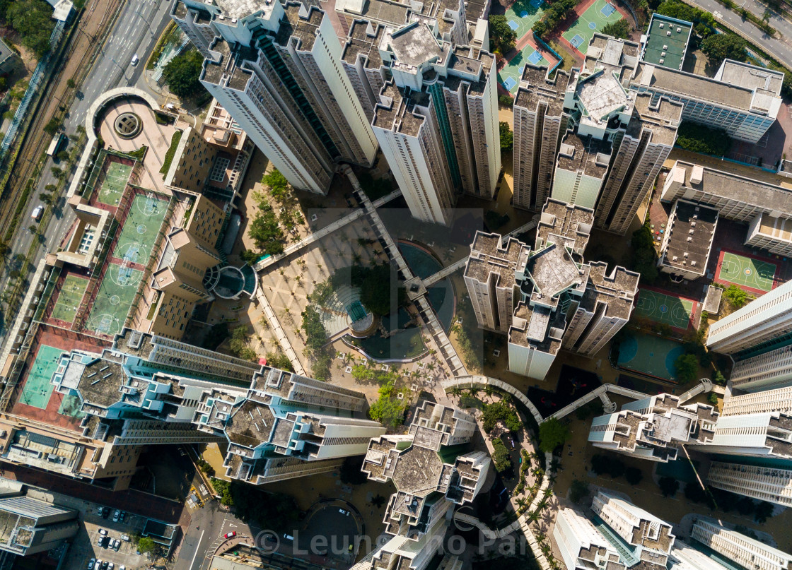 """Top view of hong kong down town"" stock image"