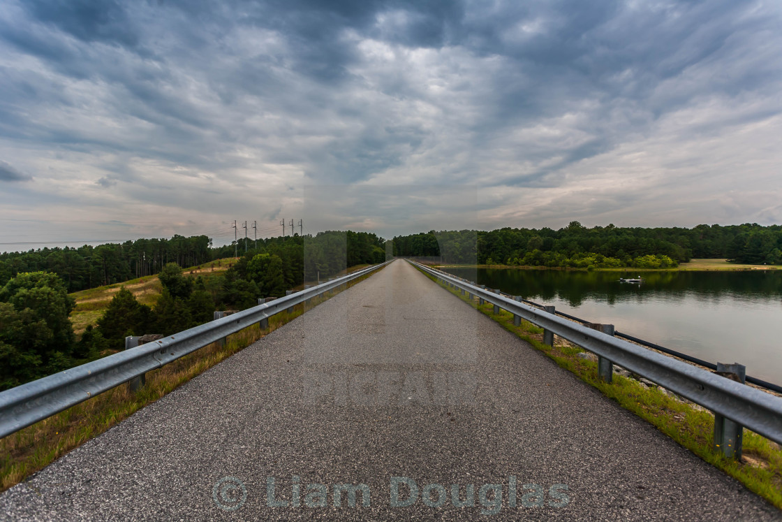 """Causeway Road on Richard B. Russell Dam in North Georgia"" stock image"